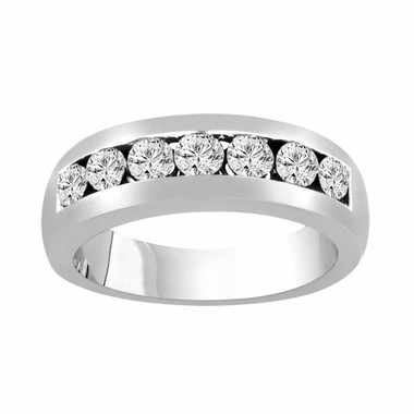 Mens Diamond Wedding Band, Anniversary Ring, 0.77 Carat 14K White Gold 7 Stone Canal Set 6 mm Unisex Handmade