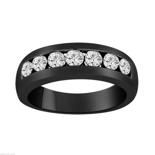 Vintage Diamond Wedding Band, Mens Anniversary Ring, 0.77 Carat 14K Black Gold 7 Stone Canal Set 6 mm Unisex Handmade