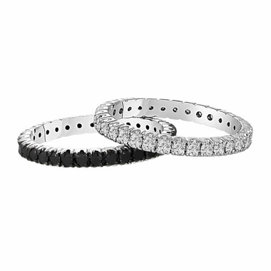 Eternity Diamond Band 1.50 Carat 14K White Gold Wedding and Anniversary Eternity Black And White Diamond Bands Stackable 2 Bands handmade