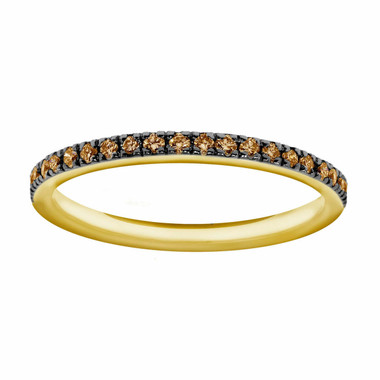 14K Yellow Gold Wedding & Anniversary Champagne Diamonds Stackable Band 0.25ct Pave Set
