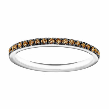 14K White Gold Wedding & Anniversary Champagne Diamonds Stackable Band 0.25ct Pave Set