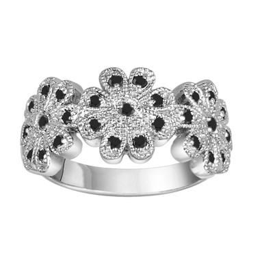 0.30 Carat Black Diamonds Flower Engagement Cocktail Ring 14K White Gold Hand Made Pave Set Unique Ring Wedding Anniversary Band