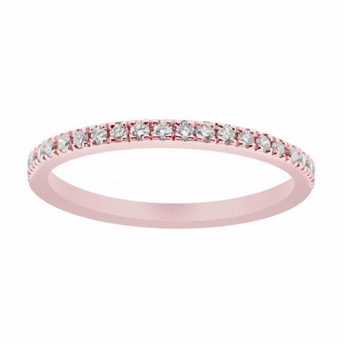 14K Rose Gold Wedding & Anniversary Diamond Stackable Band 0.25 Carat handmade Pave Set