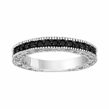 14K White Gold Fancy Black Diamond Wedding & Anniversary Band 0.28 Carat Vintage Style Engraved