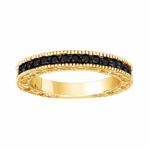14K Yellow Gold Fancy Black Diamond Wedding & Anniversary Band 0.28 Carat Vintage Style Engraved