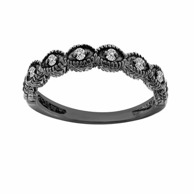 Wedding & Anniversary Diamond Band Vintage Style 14K Black Gold Antique Style Engraved 0.11 Carat Certified