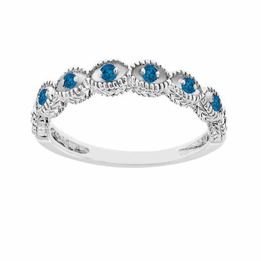14K White Gold Wedding & Anniversary Fancy Blue Diamonds Band Vintage Antique Style Engraved 0.10ct Certified