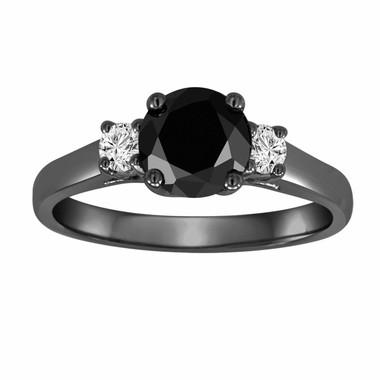 Black Diamond Three Stone Engagement Ring Vintage Style 14K Black Gold 1.25 Carat Certified Handmade