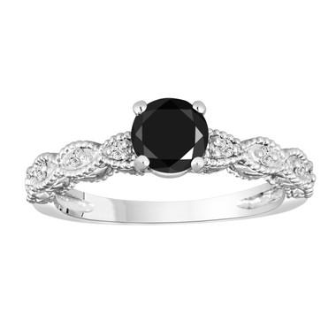Black Diamond Engagement Ring, 14K White Gold Vintage Style Engraved 0.79 Carat Handmade Certified