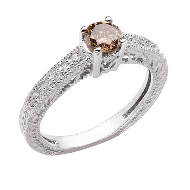 Champagne Brown & White Diamond Engagement Ring 14K White Gold 0.64 Carat Vintage Antique Style Engraved handmade