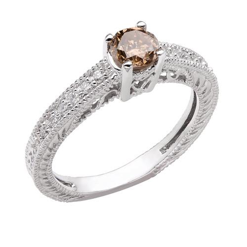 Champagne Brown & White Diamond Engagement Ring 14K White Gold 0.64 Carat Vintage Antique Style Engraved handmade