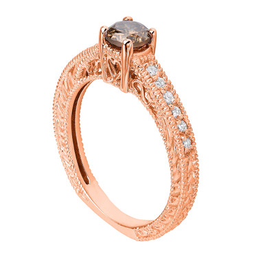 Fancy Champagne Brown Diamond Engagement Ring 14K Rose Gold 0.84 Carat Vintage Antique Style Engraved handmade