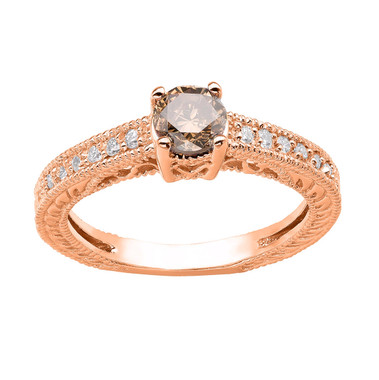 Champagne Brown & White Diamond Engagement Ring 14K Rose Gold 0.64 Carat Vintage Antique Style Engraved handmade