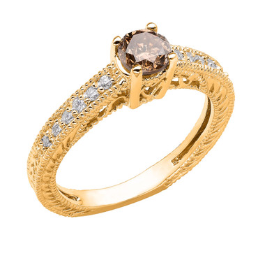Champagne Brown & White Diamond Engagement Ring 14K Yellow Gold 0.64 Carat Vintage Antique Style Engraved handmade