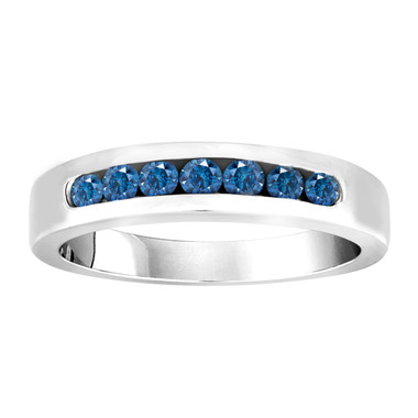 7 Stone Wedding & Anniversary Blue Diamond Band 0.38 Carat 14K White Gold Canal Set Handmade