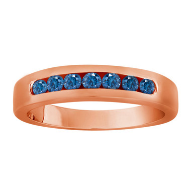 7 Stone Wedding & Anniversary Blue Diamond Band 0.38 Carat 14K Rose Gold Canal Set Handmade