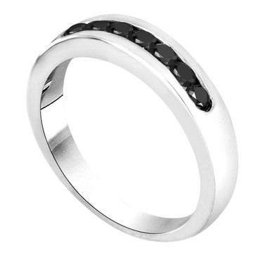 Black Diamond Wedding Band 0.40 Carat 14K White Gold 7 Stone Canal Set