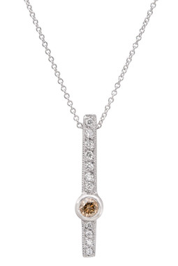 Champagne Brown & White Diamond Solitaire Pendant Necklace 14k White Gold 0.38 Carat Heart Love Designs handmade