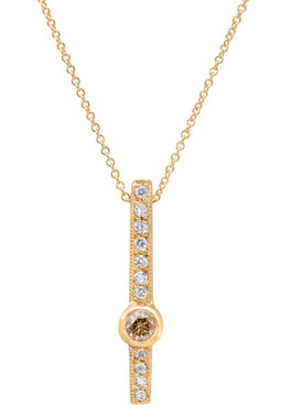 Champagne Brown & White Diamond Solitaire Pendant Necklace 14k Yellow Gold 0.38 Carat Heart Love Design handmade