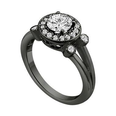 Diamond Engagement Ring 0.96 Carat Halo Certified Vintage Style 14k Black Gold handmade