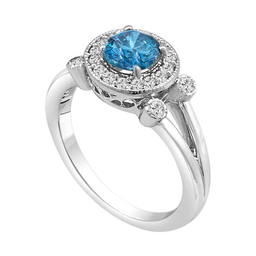 Fancy Blue Diamond Halo Engagement Ring 14k White Gold 0.96 Carat Certified HandMade Ring