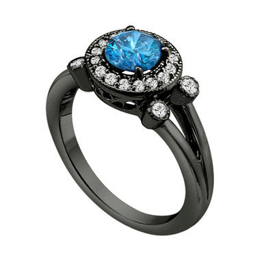 Blue Diamond Engagement Ring Vintage Style 14k Black Gold Halo 1.00 Carat Certified HandMade Ring