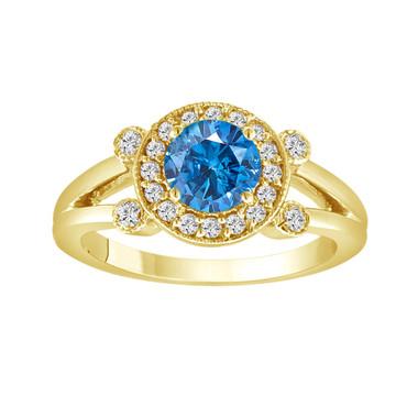 Blue Diamond Engagement Ring 14k Yellow Gold Halo 1.01 Carat Certified HandMade Ring