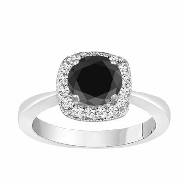1.29 Carat Black Diamond Cocktail Ring 14K White Gold handmade Pave Set Certified