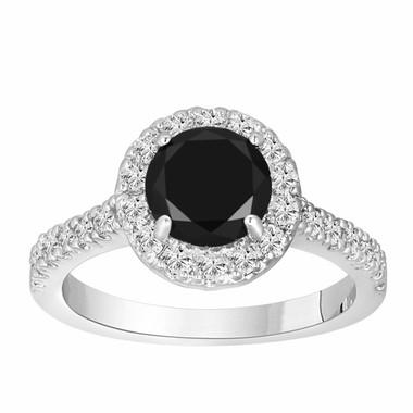 1.66 Carat Fancy Black & White Diamond Cocktail Ring 14K White Gold Halo HandMade