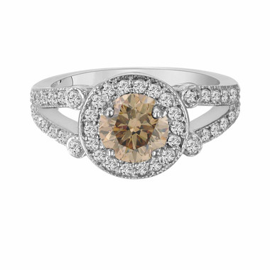 Champagne Brown Diamond Cocktail Ring 14k White Gold 1.54 Carat Unique Halo Split Shank HandMade