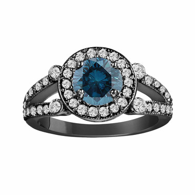 Fancy Blue & White Diamond Cocktail Ring Vintage Style 14k Black Gold 1.57 Carat Certified Unique Halo Split Shank HandMade