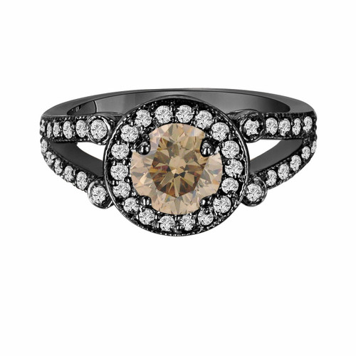 Champagne Brown Diamond Cocktail Ring Vintage Style 14k Black Gold 1.54 Carat Certified Unique Halo Split Shank HandMade