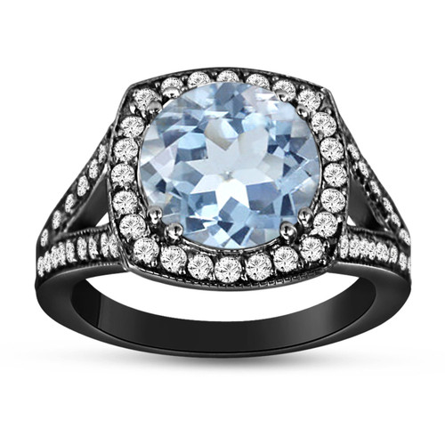 Aquamarine And Diamonds Cocktail Ring Vintage Style 14K Black Gold 2.90 Carat Pave Set HandMade Certified