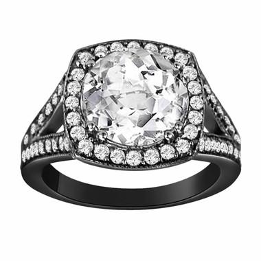 Vintage Style 14k Black Gold 3.62 Carat White Topaz & Diamond Cocktail Ring handmade Halo Ring