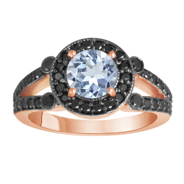 14k Rose Gold 1.52 Carat Aquamarine & Black Diamond Cocktail Ring Unique Halo HandMade Birth Stone