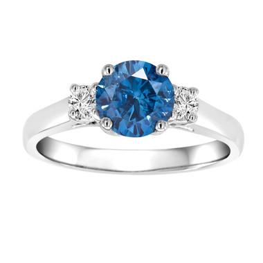 Blue & White Diamonds Three Stone Engagement Ring 1.24 Carat Certified 14K White Gold Bridal Ring HandMade Ring