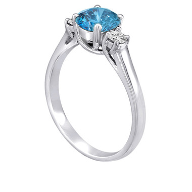Platinum Blue & White Diamonds Three Stone Engagement Ring 1.25 Carat Certified Bridal Ring HandMade Ring