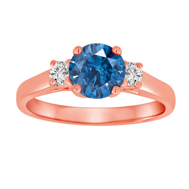 Blue Diamond Three Stone Engagement Ring 1.26 Carat Certified 14K Rose Gold Bridal Ring HandMade Ring