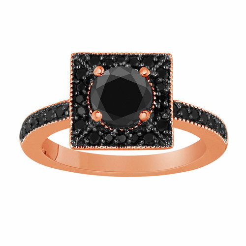 Black Diamond Cocktail Ring 1.42 Carat 14K Rose Gold Halo Handmade