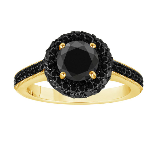 Fancy Black Diamond Cocktail Ring 18K Yellow Gold 1.78 Carat Halo Pave Set HandMade Certified