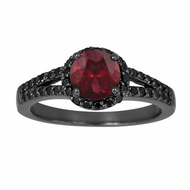 Red Garnet & Black Diamond Cocktail Ring Vintage Style 14k Black Gold 1.45 Carat Unique Halo HandMade Birth Stone