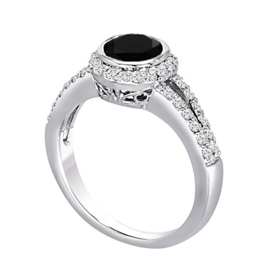 Platinum Fancy Black & White Diamond Engagement Ring 1.48 Carat Bezel Set Certified Handmade Halo Ring