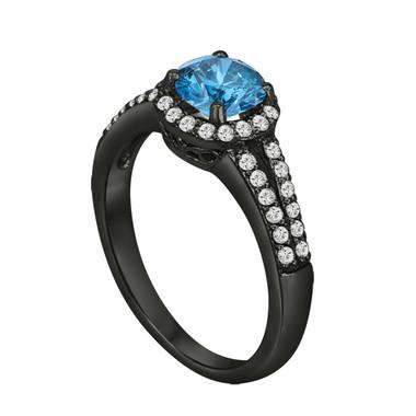 Blue Diamond Engagement Ring 1.46 Carat Vintage Style 14K Black Gold Halo Bridal Ring