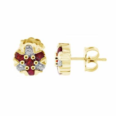 Ruby Stud Earrings, Diamond Cluster Earrings, Flower Earrings, Floral Earrings, 0.80 Carat 14k Yellow Gold Unique Handmade