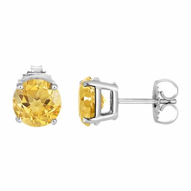 Citrine Stud Earrings 14K White Gold 2.00 Carat VVS1 HandMade Birthstone