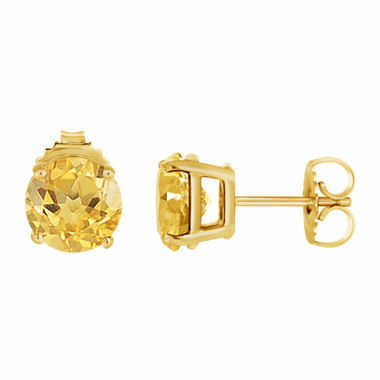 Citrine Stud Earrings 14K Yellow Gold 2.00 Carat VVS1 HandMade Birthstone