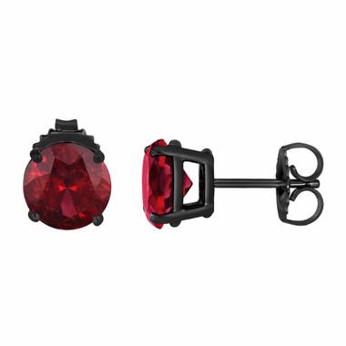 14K Red Garnet Stud Earrings Vintage Style 2.00 Carat Black Gold VVS1 HandMade Birthstone