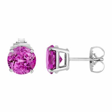 Pink Tourmaline Stud Earrings 950 Platinum 1.60 Carat  HandMade Birthstone