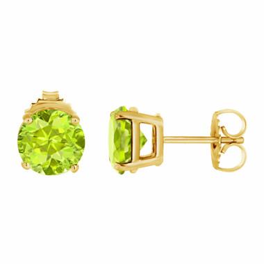 Peridot Stud Earrings 14K Yellow Gold 2.00 Carat VVS1 HandMade Birthstone