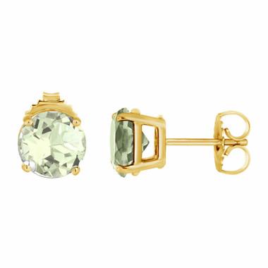 Green Amethyst Stud Earrings 14K Yellow Gold 2.00 Carat VVS1 HandMade Birthstone